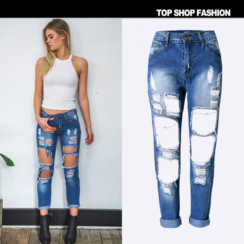 B10001A Latest Fashion women ripped jeans casual pants slim sexy women jeans 20dad01d76