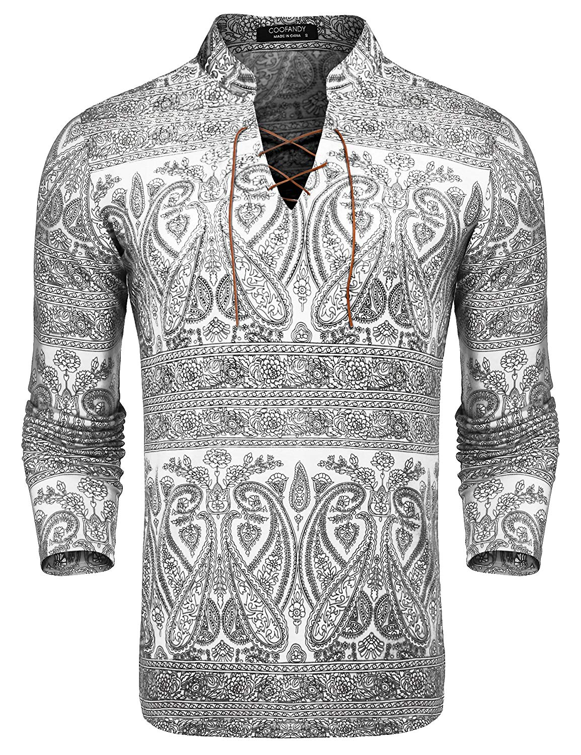 2118fdfcc0d Get Quotations · COOFANDY Mens Floral Shirt Slim Fit Long Sleeve Casual  Cotton Paisley Print Lace-up Henley