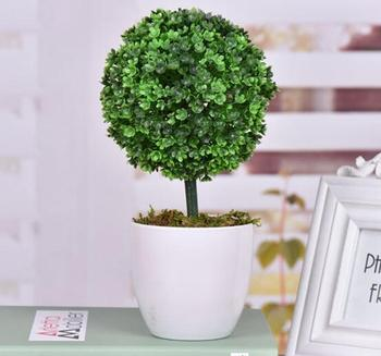 Artificial Faux Potted Tabletop Yellow Flower Plant Topiary White Planter  Pots