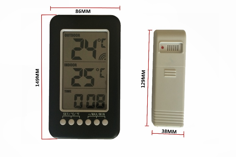 Wireless Thermometer Station Digital LCD Large Display Indoor Outdoor Thermometer