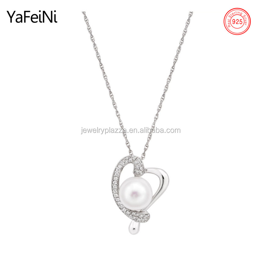 925 Sterling Silver Freshwater Button Pearl and Cubic Zirconia Heart Necklace Micro Pave Setting Heart Jewelry
