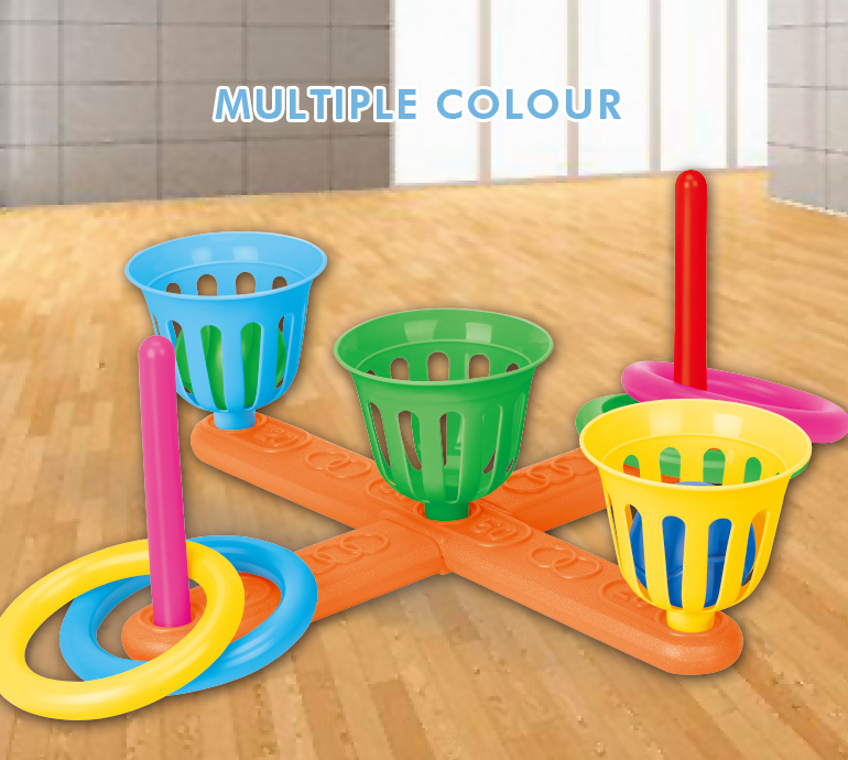 Cheap educational colorful sports outdoor toy plastic 2 in 1 ring toss game