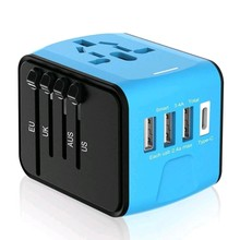 4 USB Universal Travel Adapter with EU AU US UK Plug All in one universal Power Adapter with 1 Type C