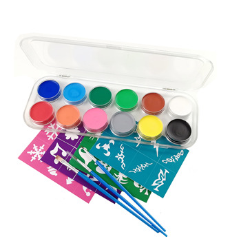 Non toxic waterbased Amazon 12 Halloween  Face Paint Kit for Kids 30 stencils