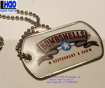 cheap metal epoxy sticker dog tag military tag wholesale 3d resin