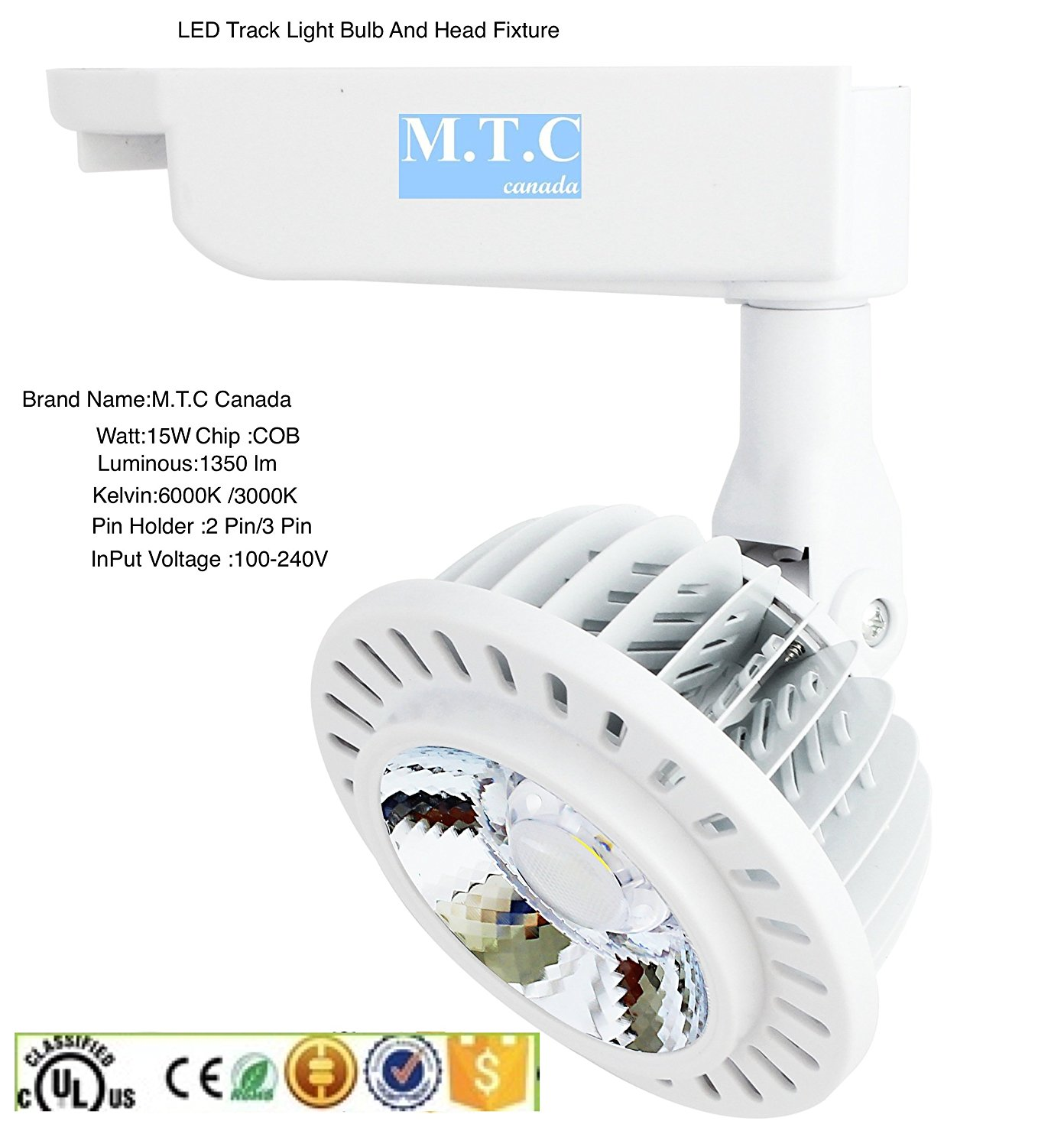 LED Track Light Fixture, Head And Bulb Complete kit 15W,For 3 Pin Track,COB Chip,Spot Light 1350Lm 6000K Cul Classified Pack of 10 Pcs=$250.00Cad,1 pcs= $25 Cad for Sale