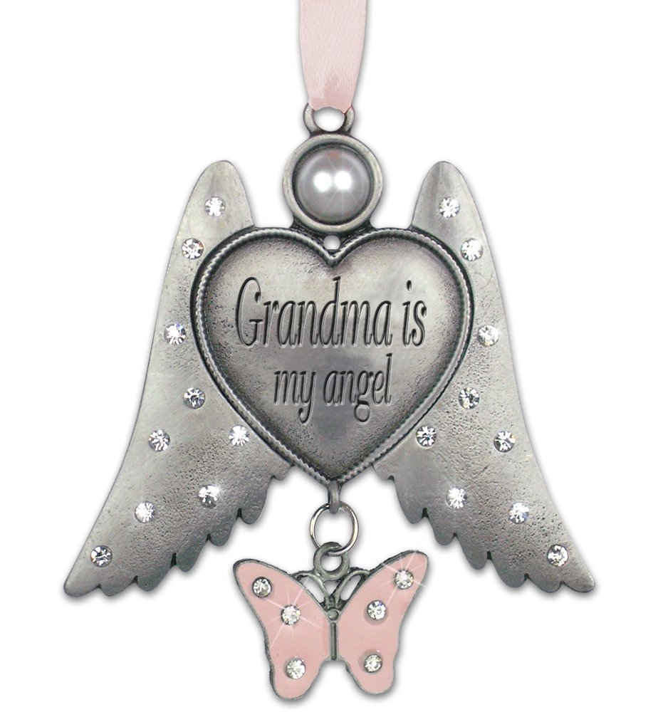 Grandma Ornament - Grandma Jeweled Angel Hanging Ornament - Grandma Is My Angel - Pink Butterfly Charm - 3 Inch