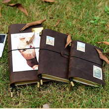 Leather notebook for travel pure handmade and vintage notebook can gift and DIY first layer leather free shipping