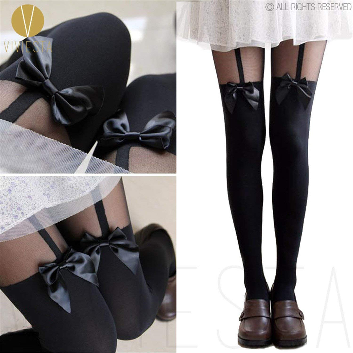 7eafaf06e3c Get Quotations · Dormery TIGHTS - 120D + 30D Sexy Black Sheer Heart Bow  Stripe Over The Knee Pantys