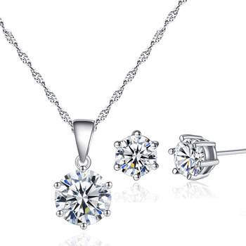 Classic AAA round cubic zirconia six claw necklace and earrings Jewelry Set For Party