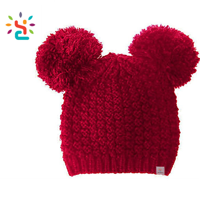 e2ee655abbd4f Toddler beanies knitted cap wholesale fur pom poms baby hat cotton winter  beanie funny knitted hat
