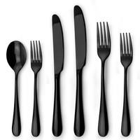 Dishwasher safe stainless steel shiny black cutlery set