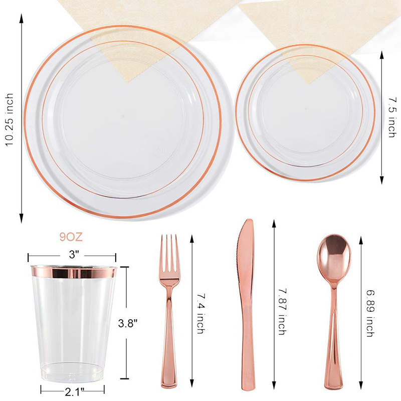 Amazon hot selling disposable gold plastic silverware gold plastic dinner sets gold plastic dinnerware