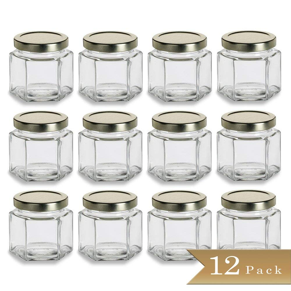 12 - TrueCraftware 4 oz Hexagon Glass Jars with Gold Covers - Pack of 12 - Jars for Jams, Honey, Sauces, Spices 120ml
