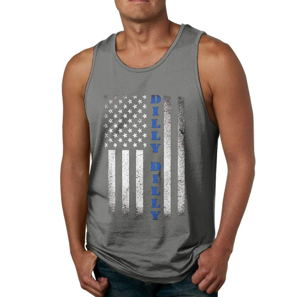 Newfood Ss Dilly Dilly American Flag Men's 100% Cotton Tank Top Tshirt DeepHeather