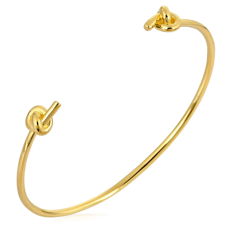 Stellar Designs Yellow Gold Overlay Plain Fashionable Stretchable Open Brass Cuff Bracelet