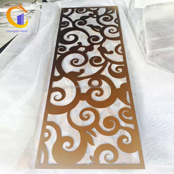 Room interior design laser sheet metal cutting hollow stainless steel screen indoor room divider.