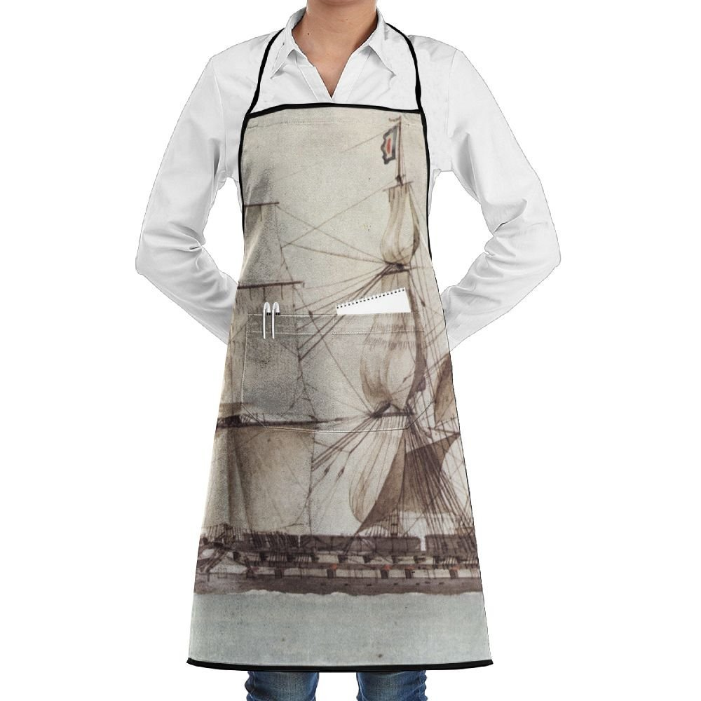 France Nautical Ship Pirate Sailboat Apron Lace Unisex Mens Womens Chef Adjustable Polyester Long Full Black Cooking Kitchen Aprons Bib With Pockets For Restaurant Baking Crafting Gardening BBQ Grill