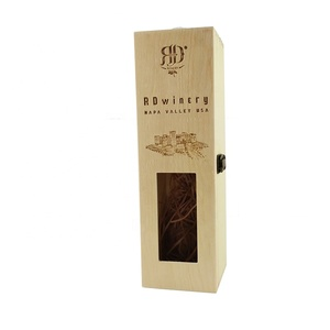 Custom Natural Wood Wine Glass Gift Packaging Box Display Box With Handle