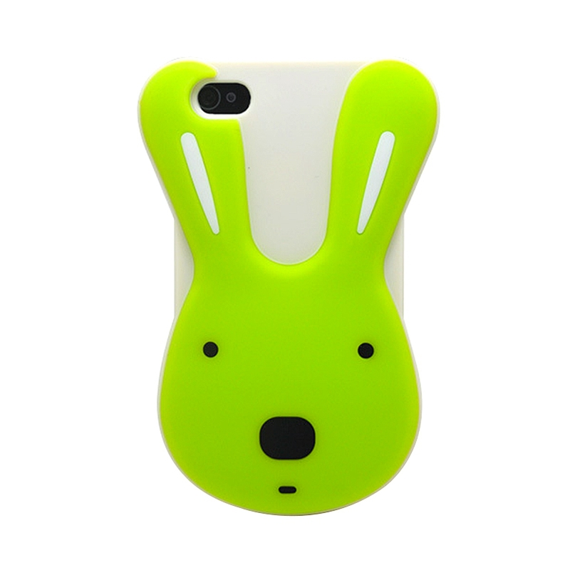 2015 Hot Fashion Luxury  New Item 3D Cute Rabbit Design Silicone Back Case Top Quality Cover for Apple iPhone 4 4S 4G