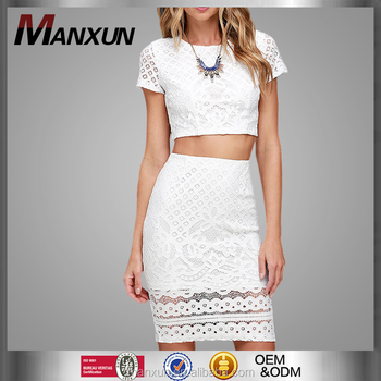 d8774b52c32 Beautiful Lady Lace Fashion Suits Party Dress Short Sleeve Design Elegant  White Bare Midriff Hip Package