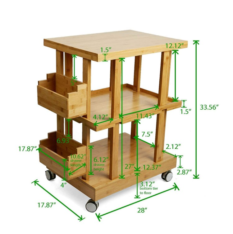 3-Tier Bamboo Wood Kitchen Utility Cart with 2 Storage Compartments 5