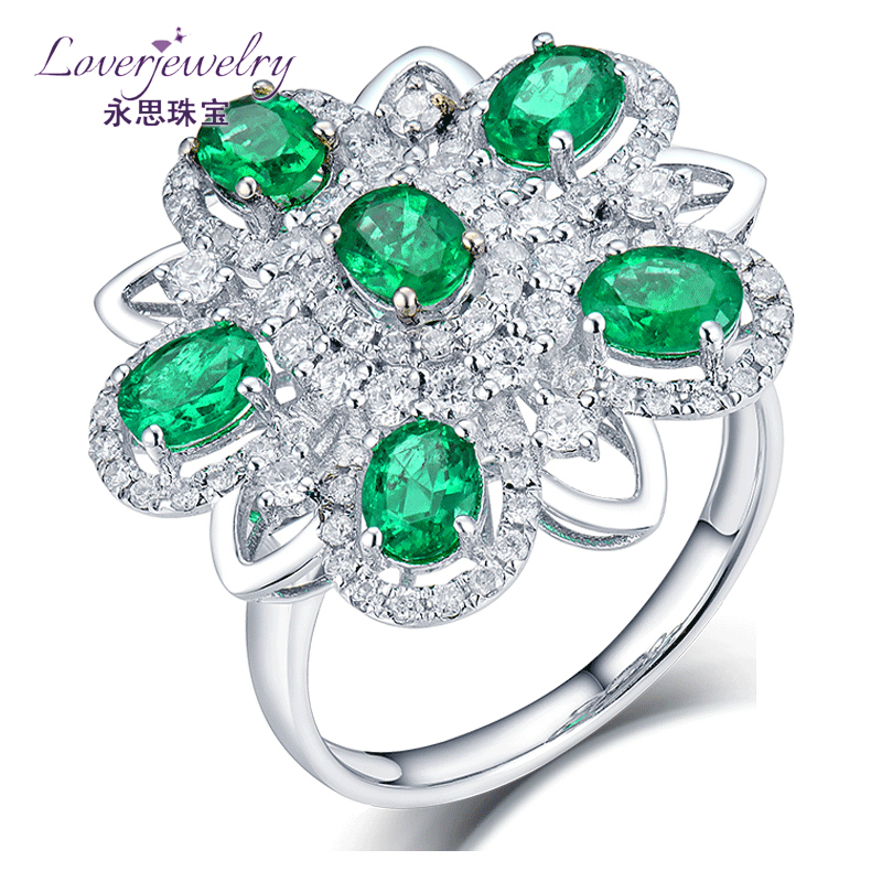 Custom Design 5.25g Oval Gemstone Jewelry Wholesaler 1.51 ct Per Natural Green Emerald Pave 0.8ct Diamond Solid 18k Fashion Ring