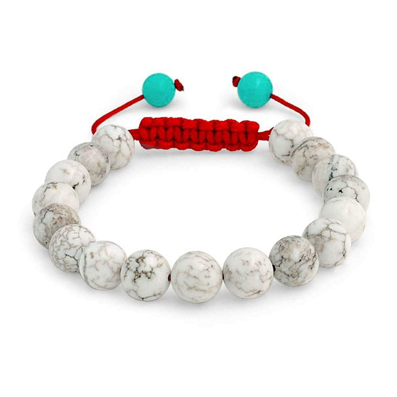 Blue White Simulated Howlite Shamballa Inspired Bracelet