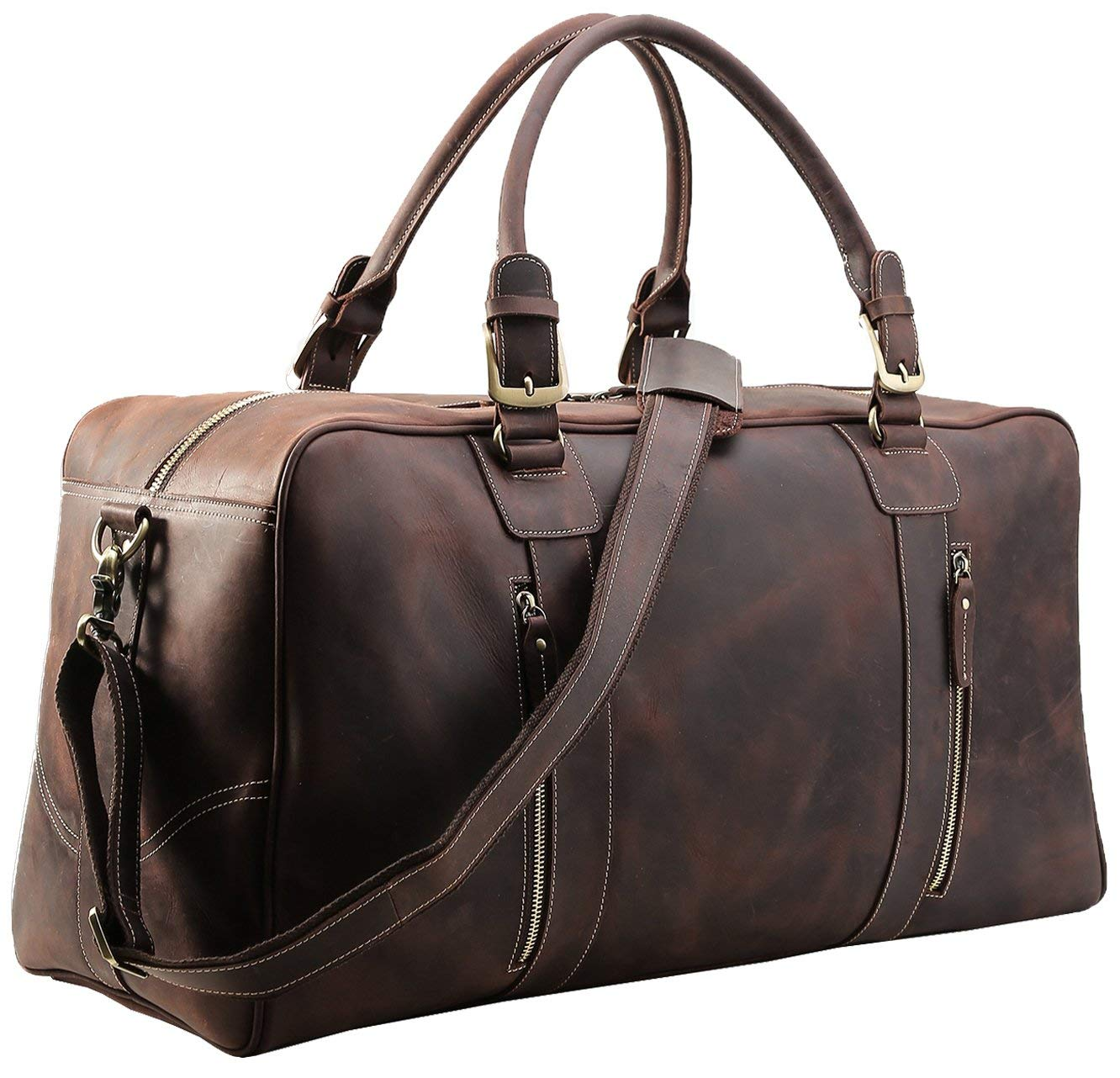 fe0d82d00a04 Get Quotations · Polare Mens Vintage Leather Duffel Overnight Travel Duffle  Weekender Bag (X-large 23.2