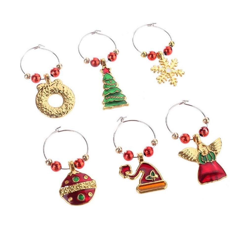 XGuangage 6pcs Mixed Rhinestone Charm Marker Wine Glass Marker Tags Party Bar Table Decorations