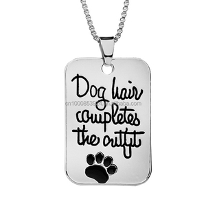 "Pet Loves Jewelry Engraved ""Dog hair completes the outfit "" Dog Tag Pet Print Paw Pendant Fashion Charms Necklace"