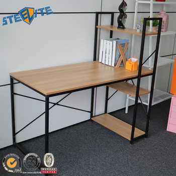Cheap wooden computer desk metal office desk with bookshelf