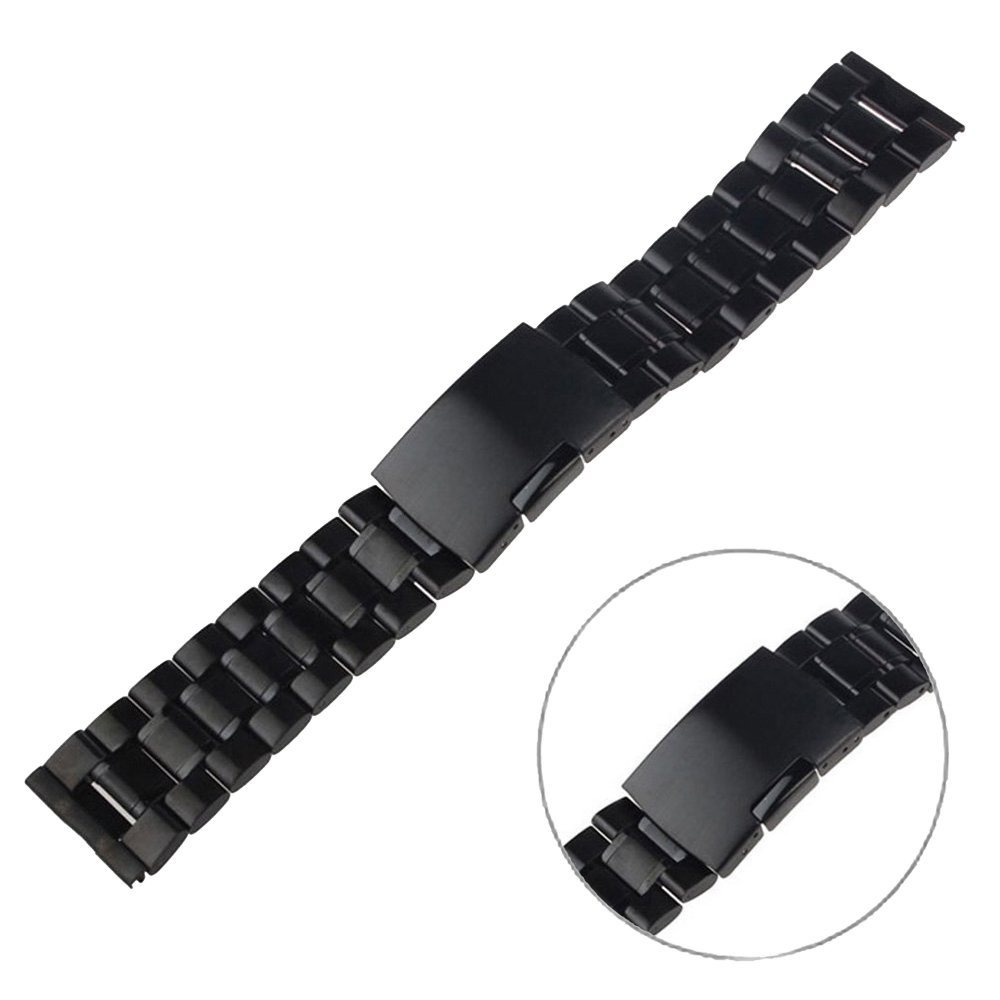 EXMART Huawei Watch Replacement Band , Solid Stainless Steel Watch Band Watch Strap for Huawei Smart Watch (Black)