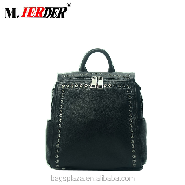 Wholesale high quality genuine leather bag woman zipper black leather backpack with eyelet , Low MOQ