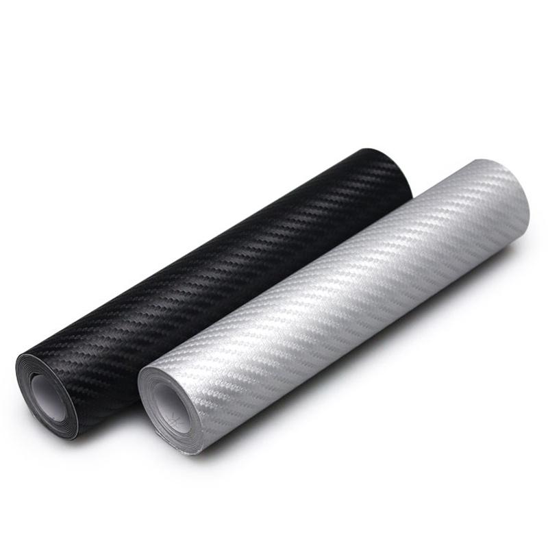 10 x 127 см 3D углеродного волокна виниловая пленка автомобиля стикер водонепроницаемый DIY стилизации автомобилей обернуть для авто автомобиль детализация черный серебристый