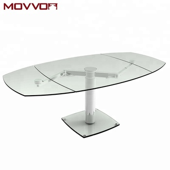 Functional Mechanism With Lateral Extensions For Widening And Central Extension Lifting Glass Dining Table