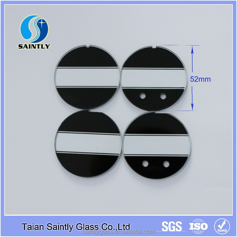 2mm 3mm round decorative glass panel for car dashboard with small groove