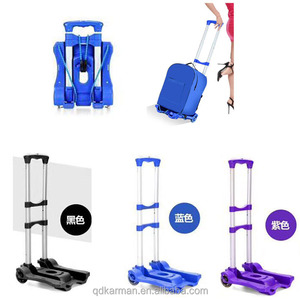 Portable Small Folding Push Hand Truck Trolley, Hand Collapsible Luggage Flatbed Dolly Trolley Cart Truck