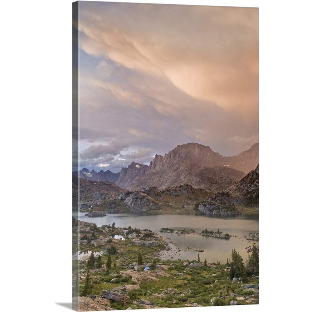 """Gallery-Wrapped Canvas Entitled Bridger Wilderness, Sunset on Wind River Range and Island Lake by Don Paulson 24""""x36"""""""