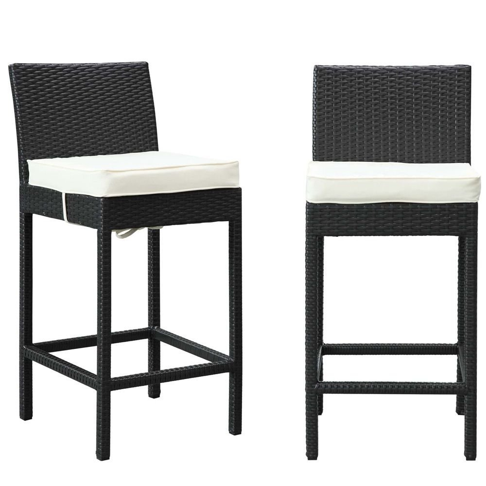 """Bar Stool Outdoor Patio Set of Dimensions: 17.5""""W x 20""""D x 39""""H Weight: 44 lbs Espresso White"""