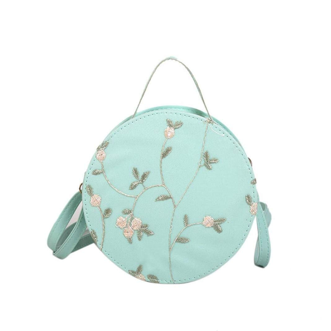 Sunshinehomely Elegant Women Girls Embroidery Crossbody Bags Round Tote Handbags Shoulder Bag