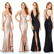Backless Deep V Neck Sequins Champagne Ladies Gowns Evening Dress
