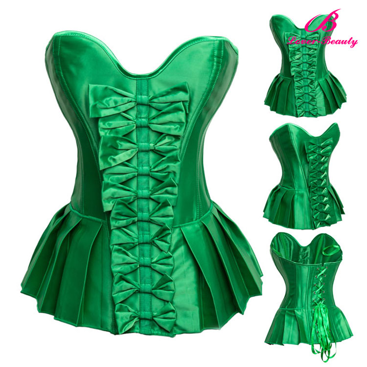 Front lace up girls sexy bodysuit shaper green corset