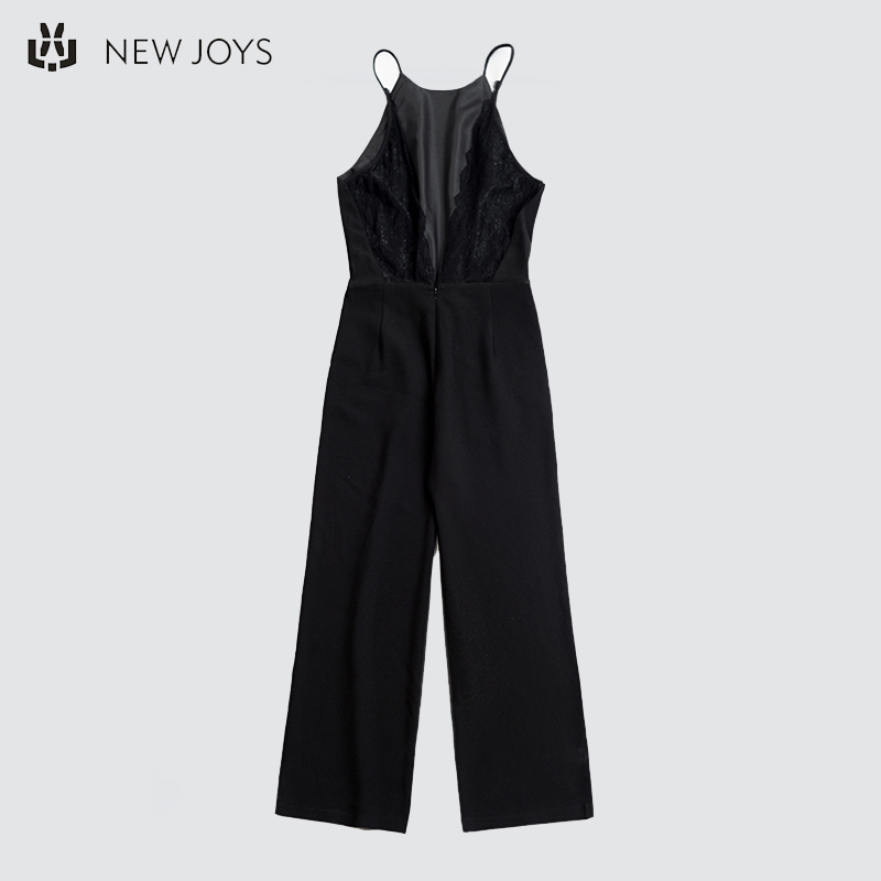 OEM Sexy Black Soild Mouwloze V-hals Dames Jumpsuits Club Wear Off Shoulder Strap Jumpsuit