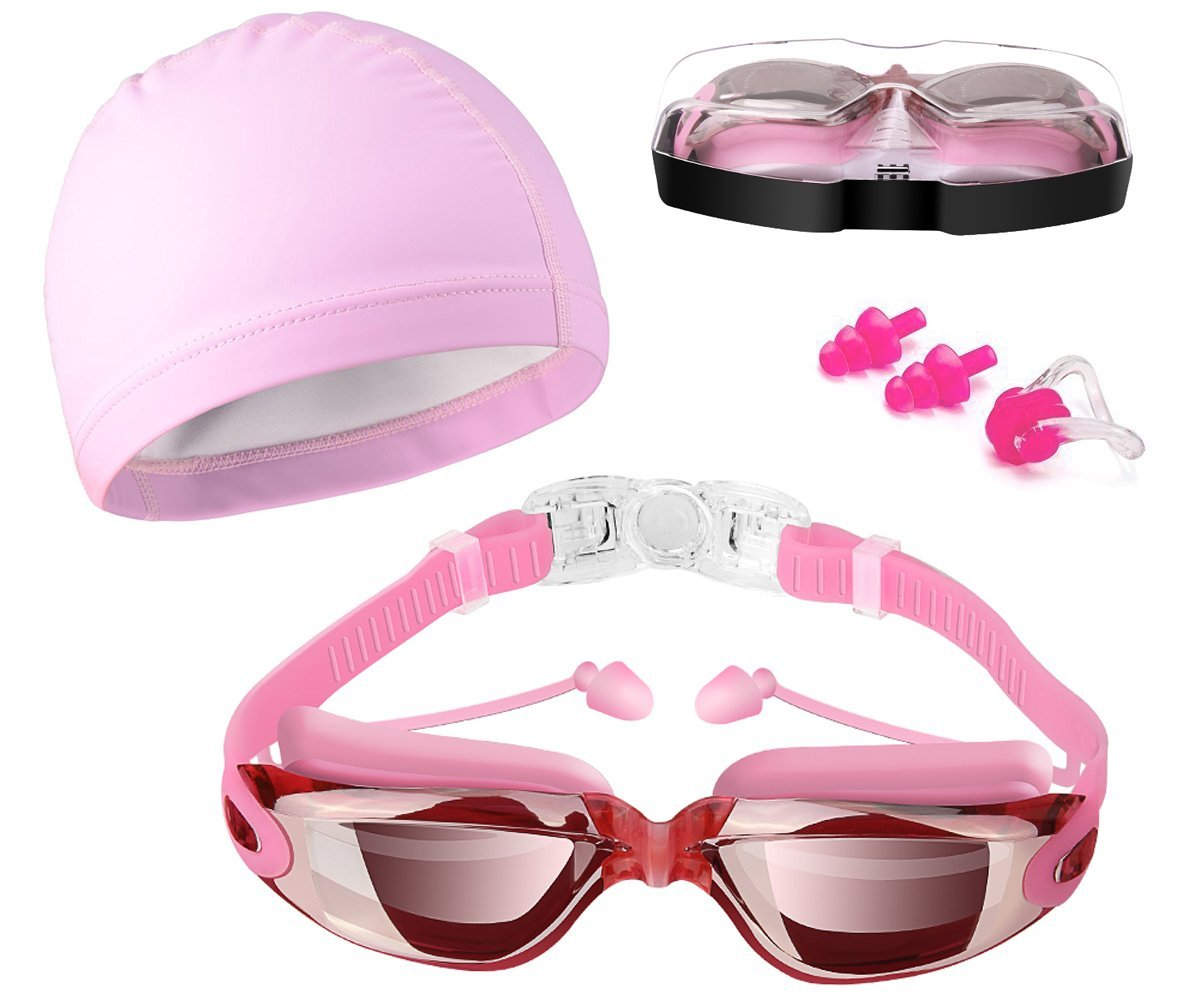Swim Goggles, Hurdilen Swimming Goggles Anti-Fog UV Protection Coated Lens No Leaking with Swim Cap, Nose Clip, Earplugs, Case for Men Women Adult Youth Kids