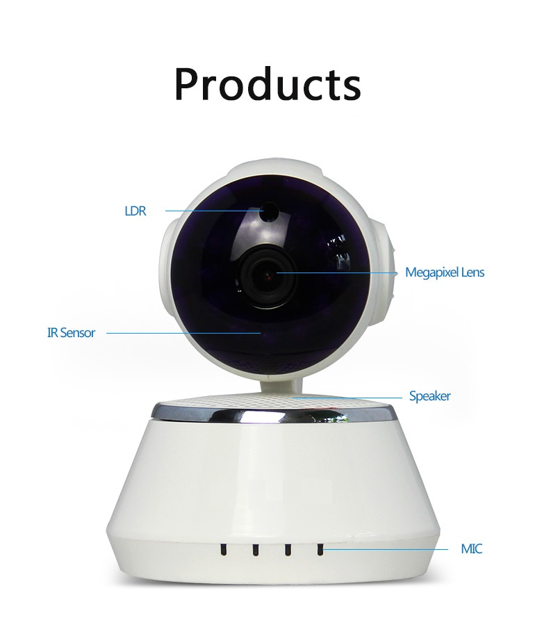 CE based wifi 2p2 wireless 1mp ip camera support 64G TF card slot