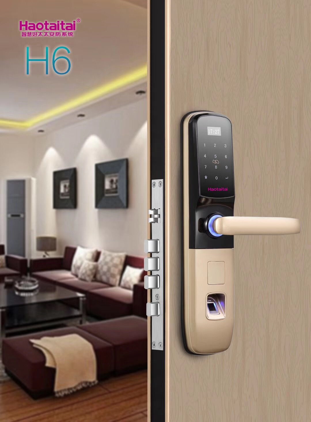 Stainless steel double locked swipe key card reader sliding door lock
