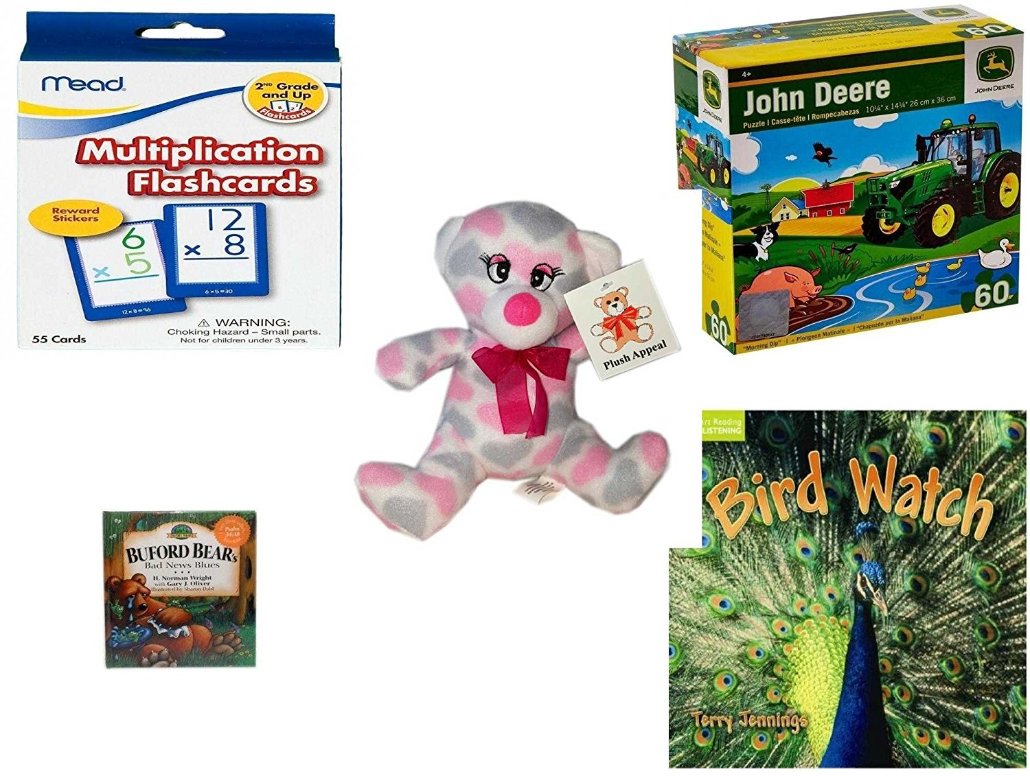 """Children's Gift Bundle - Ages 3-5 [5 Piece] - Mead Flashcards Multiplication Grades 2-3 - John Deere Morning Dip 60 Piece Puzzle Toy - Plush Appeal Pretty Pink and Purple Hearts Bear Plush 7"""" - Bufo"""