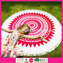 Customed High Quality Adult&Kids Velour Printed Round Beach Towel with Fringe
