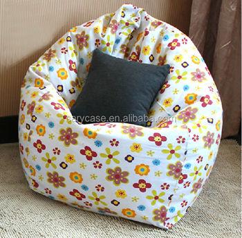Fashion Floral Print Cotton Fabric Adults Sit Bean Bag Chair Beanbag Rest Set